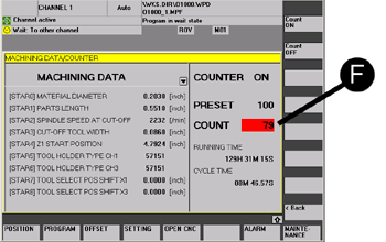 Screenshot of a machine's operator panel showing part counter values