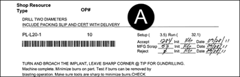 Part of a work order traveler with barcode containing work order number and operation