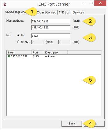 Usage of CNC Port Scanner