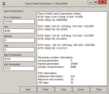 Read parameters 6710 - 6713