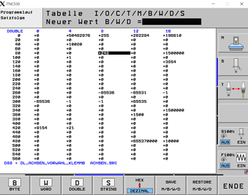 Heidenhain TNC PLC DWORD Table