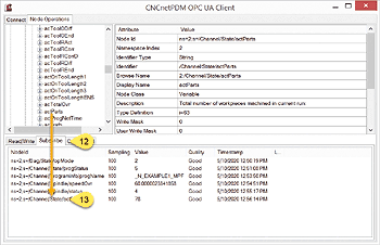 Monitoring of multiple OPC UA nodes