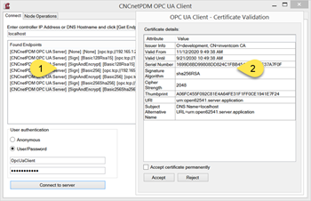 Endpoints & Certificate created by CNCnetPDM