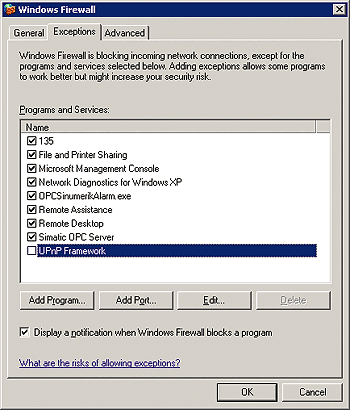 Sinumerik firewall settings